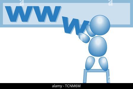 www web internet homepage male stick figure vector blue - Stock Photo