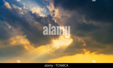 Natural scene Sky clouds and sunrays background - Stock Photo