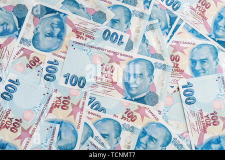 Turkish lira  banknotes background.Economy concept with banknotes - Stock Photo