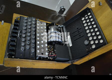 An Enigma Machine at Bletchley Park, Milton Keynes, Buckinghamshire, UK - Stock Photo
