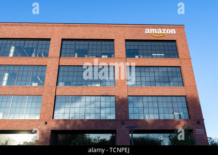 June 8, 2019 East Palo Alto / CA / USA - Amazon office building located in Silicon Valley, San Francisco bay area - Stock Photo