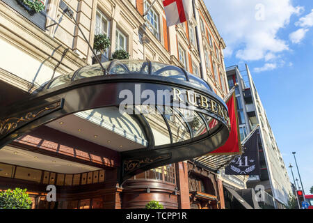 Front entrance canopy of the luxury 5 star Rubens at the Palace Hotel, Buckingham Palace Road, Westminster London SW1, UK - Stock Photo