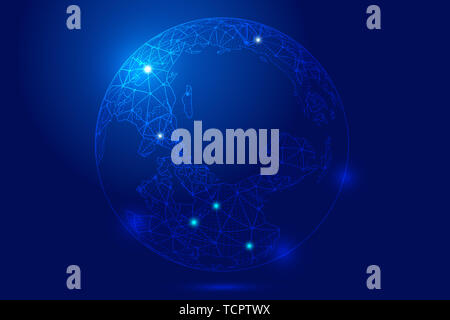 Point line link, digital earth composition luminescent sphere technology background, blue technology effect of earth elements - Stock Photo