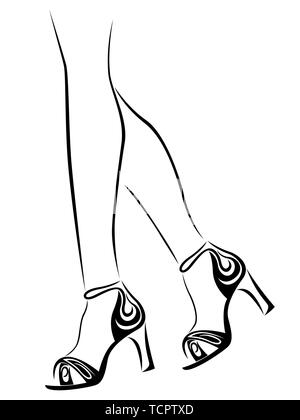 outline of graceful female feet in shoes with abstract