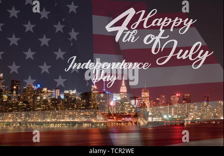New York City at night and American flag. Manhattan skyline with US flag. 4th July Independence day holiday United States - Stock Photo