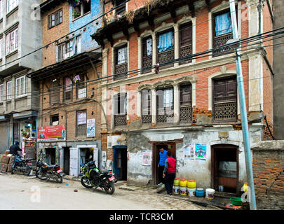Residential and commercial buildings in the city centre of Kathmandu, Nepal - Stock Photo
