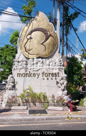 Ubud, Bali, Indonesia - 17th May 2019 : Picture of the Ubud Monkey Forest monument located at the entrance of the Monkey Forest Road in Ubud, Bali - I - Stock Photo