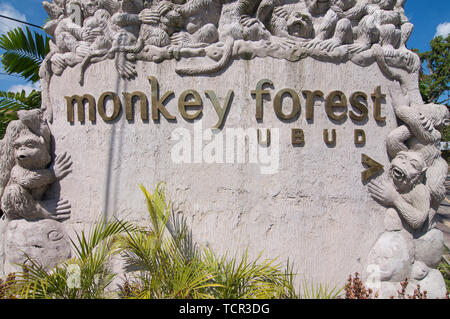 Ubud, Bali, Indonesia - 17th May 2019 : Close up picture of the Ubud Monkey Forest text read on the Monkey Forest Monument located in Ubud, Bali - Ind - Stock Photo