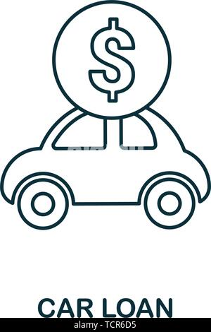 Car Loan outline icon. Thin line style icons from personal finance icon collection. Web design, apps, software and printing usage simple car loan icon - Stock Photo