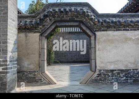 Garden Gate Building in Mencius Mengfu, Zoucheng City, Shandong Province - Stock Photo