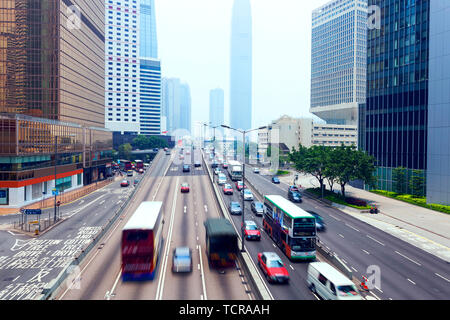 traffic of modern city hongkong at daytime - Stock Photo