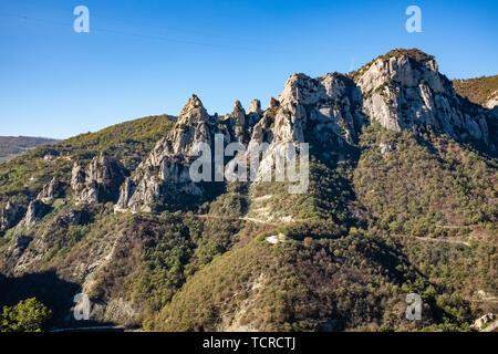 Landscape of Dolomites of Basilicata mountains called Dolomiti Lucane. Basilicata region, Italy - Stock Photo