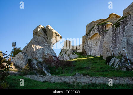 Ruins of Pietrapertosa castle. Dolomites of Basilicata mountains called Dolomiti Lucane. Basilicata region, Italy - Stock Photo