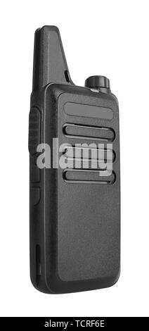 Portable radio transceiver isolated on white background - Stock Photo