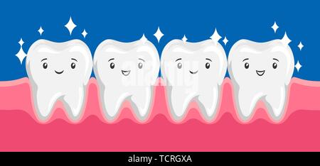 Illustration of smiling clean healthy teeth in oral cavity. - Stock Photo