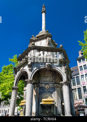 LIEGE, BELGIUM - MAY 04, 2013: The Perron on Place de Marche - symbol of the city, partial view against a clear blue sky - Stock Photo