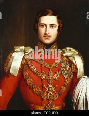 Prince Albert of Saxe-Coburg and Gotha (Francis Albert Augustus Charles Emmanuel, 1819 – 1861) was the husband of Queen Victoria. Portrait by John Partridge, 1840 - Stock Photo