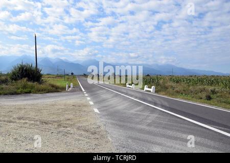 Landscape of Fagaras mountains with Transfagarasan (DN7C) road. Fagaras mountains from north side. Romania. - Stock Photo