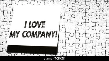 Word writing text I Love My Company. Business photo showcasing tell why admire their job and workplace Piece of square note paper use for give notatio - Stock Photo