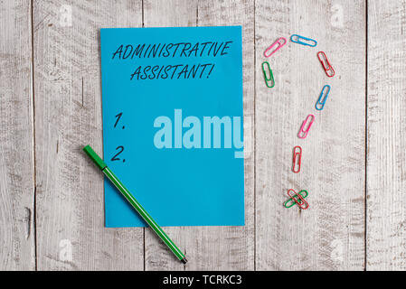 Handwriting text Administrative Assistant. Conceptual photo Administration Support Specialist Clerical Tasks Pastel colour note paper placed next to s - Stock Photo