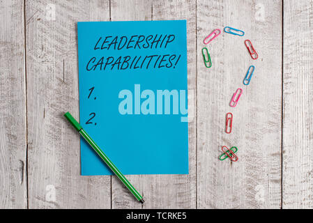 Handwriting text Leadership Capabilities. Conceptual photo Set of Perforanalysisce Expectations a Leader Competency Pastel colour note paper placed ne - Stock Photo