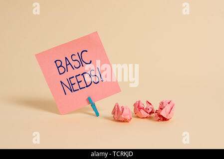 Handwriting text Basic Needs. Conceptual photo measurement of absolute poverty in developing countries Plain note paper and stationary placed above so - Stock Photo