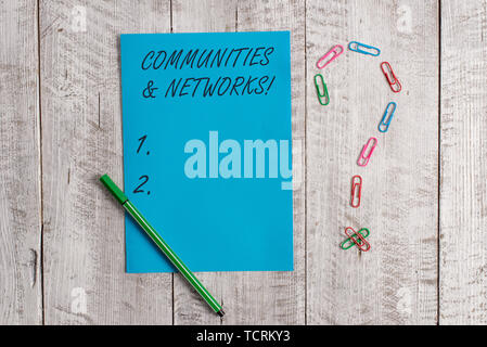 Handwriting text Communities And Networks. Conceptual photo Collaboration of Learnings and Practices of Members Pastel colour note paper placed next t - Stock Photo