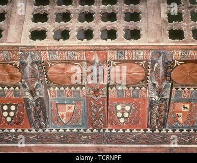 DET- ALFARJE DEL CORO- MADERA POLICROMADA- ARTE MUDEJAR S XIII-XIV. Location: IGLESIA DE SAN ROMAN DE CASTRO. PUEBLA DE CASTRO. HUESCA. SPAIN. - Stock Photo