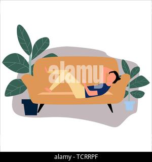 A man lying on the sofa. Vector.