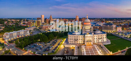 Aerial panorama of Providence, Rhode Island - Stock Photo