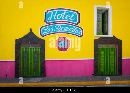 Hotel Los Remedios in Cholula, Mexico. - Stock Photo