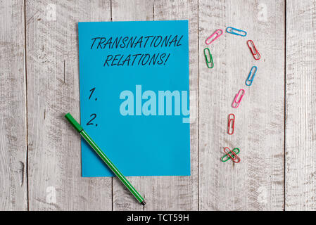 Handwriting text Transnational Relations. Conceptual photo International Global Politics Relationship Diplomacy Pastel colour note paper placed next t - Stock Photo