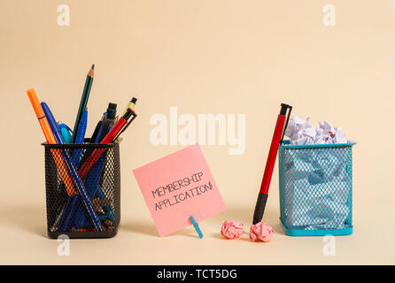 Text sign showing Membership Application. Business photo text Gateway to any organization to check if Eligible Plain note paper and stationary placed  - Stock Photo