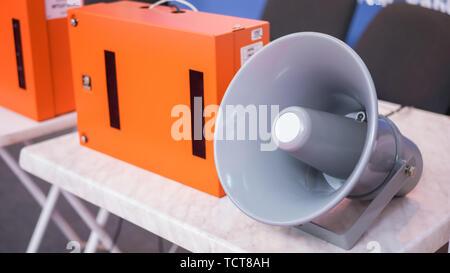 Light grey loudspeaker - Stock Photo