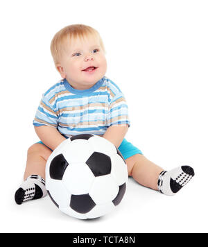 Little boy playing with soccer-ball, isolated on white - Stock Photo