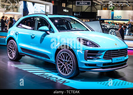 Geneva, Switzerland, March 05, 2019: all new blue Porsche Macan S 2019 model at Geneva International Motor Show, CUV produced by Porsche - Stock Photo