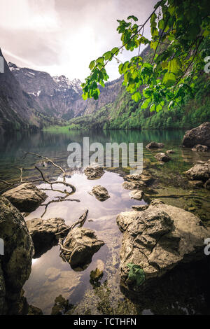 Nature panorama at lake Obersee, near Koenigssee in Berchtesgaden, Bavaria - Stock Photo
