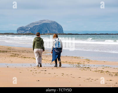 Tyninghame Beach, East Lothian, Scotland, United Kingdom, 10th June 2019. UK Weather: Low tide on the huge sandy expanse of the coastline, with two women walking on the sandy beach towards the Bass Rock gannet colony - Stock Photo