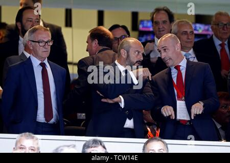 Madrid, Spain. 10th June, 2019. (L-R) Spain's Minister of Culture Jose Guirao, acting Madrid's regional president Pedro Rollan, and President of the Spanish Royal soccer Federation Luis Rubiales attend a UEFA EURO 2020 qualifying match between Spain and Sweden at the Santiago Bernabeu stadium in Madrid, Spain, 10 June 2019. Credit: Javier Lizon/EFE/Alamy Live News - Stock Photo
