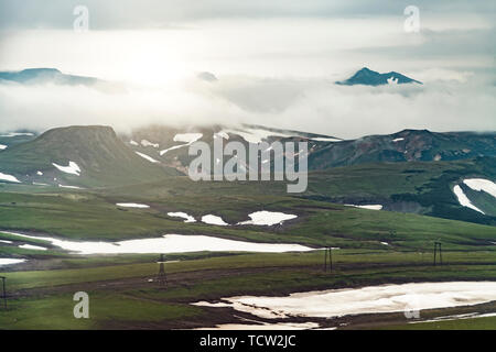 Aerial view of landscape with green plains on Kamchatka peninsula, Russia - Stock Photo