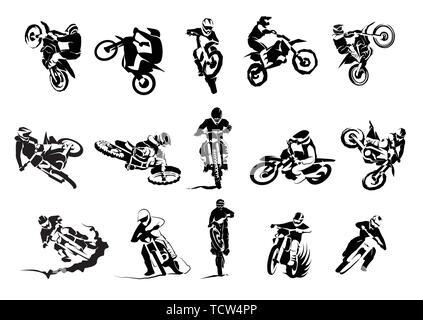 Extreme bike big vector set 14x, motocross - Stock Photo