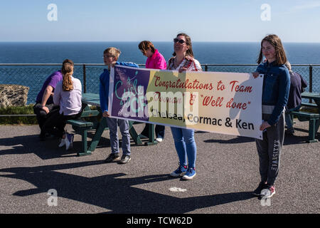 Cystic Fibrosis Fund Raising Cycle Race, May, 12, 2019: Spectators wait for the riders at the finish line of the Cycle 4 CF fund raising ride from Mal - Stock Photo