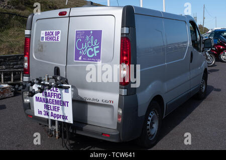Cystic Fibrosis Fund Raising Cycle Race, May, 12, 2019: Support van at the finish line of the Cycle 4 CF fundraising ride from Malin to Mizen Head - Stock Photo