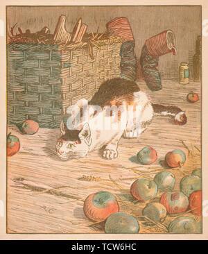 'The cat that ate the rat that ate the malt...', c1878. Creator: Randolph Caldecott. - Stock Photo