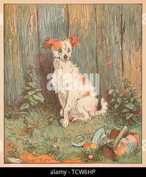 Stray dog befriended by good man of Islington, c1879.  Creator: Randolph Caldecott. - Stock Photo