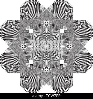 arabesque target star like chessboard inspired strukture abstract cut art deco illustration on transparent background - Stock Photo