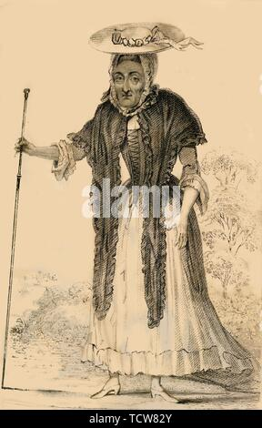 'Jane Lewson, Remarkable for her age and pecularities', 1821. Creator: Robert Cooper. - Stock Photo