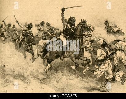 Charge of the cavalry at the Battle of Miani (Meeanee), Sindh, India, 1843 (c1890). Creator: Unknown. - Stock Photo