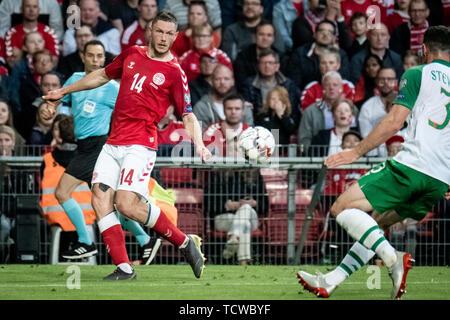 Denmark, Copenhagen - June 7, 2019. Henrik Dalsgaard (14) of Denmark seen during the EURO 2020 qualifier match between Denmark and Ireland at Telia Parken in Copenhagen. (Photo credit: Gonzales Photo - Kim M. Leland).