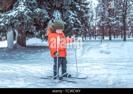 Little boy is 3-4 years old, winter on children's skis, first steps skis, active image of children. Background snow drifts trees. Free space. The idea - Stock Photo
